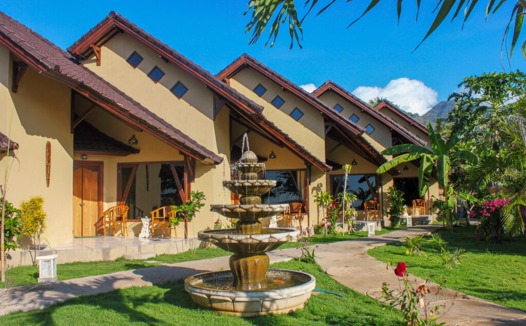 accommodation in ocean view bungalows at Hotel Uyah Amed