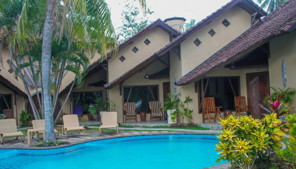 poolside bungalows around pool