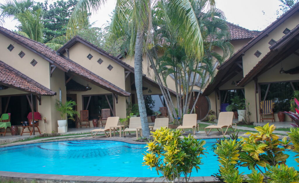 accommodation in poolside bungalows at Hotel Uyah Amed